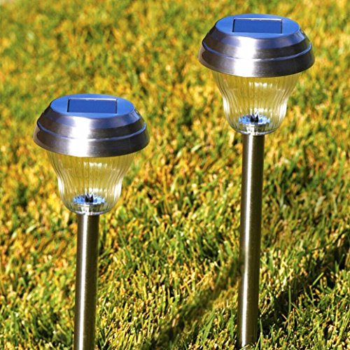 Sogrand Solar Garden Lights Outdoor Pathway Decorative Stake Light Upgraded Dual LED White Blue Glass Lens Bright Decorations Stainless Steel Stakes for Patio Outside Landscape Walkway 4 Pack