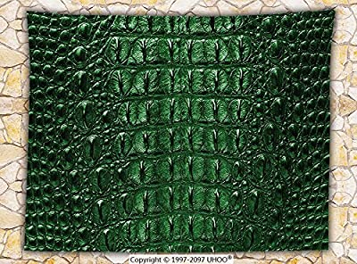 Animal Print Decor Fleece Throw Blanket Crocodile Skin Leather Pattern Dangerous Wild Animals Luxury Lifestyle Illustration Throw Green