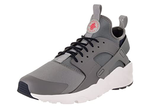 Nike Men's Air Huarache Run Ultra Trainers Cool Wolf Grey Obsidian Solar Red White, 10 UK 45 EU