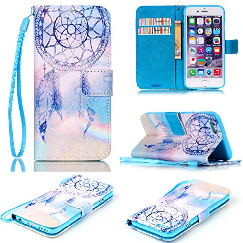 Price comparison product image iPhone 6S Case,iPhone 6 Case,JanCalm [Wrist Strap Design][Kickstand] Pattern Premium PU Leather Wallet [Card/Cash Slots] Flip Cover for iPhone 6/6SIncluding-ONE Crystal Pen (Aeolian bells)