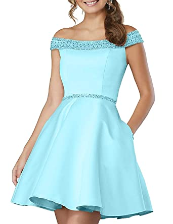a09107a5967 Yiweir Women s Short Homecoming Dresses 2018 A-Line Off Shoulder Beaded  Formal Prom Gown H077 at Amazon Women s Clothing store
