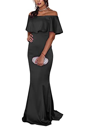 Long Prom Dress 2018 Formal Off Shoulder Backless Ruffle Bridesmaid Party Dress Black Size 2