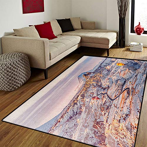 Winter,Door Mat Outside,Cappadocia Turkey Landscape with Hot Air Balloons Anatolia Valley Geology Tourism,Door Mats for Inside Non Slip Backing,Multicolor,6.6x8 ft