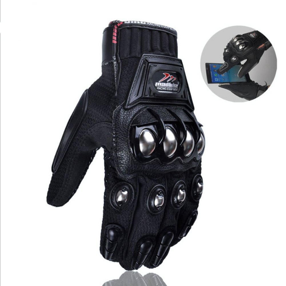 oubaiya Steel Outdoor Reinforced Brass Knuckle Motorcycle Motorbike Powersports Racing Textile Safety Gloves (Black, X-Large) by oubaiya (Image #5)