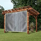 EZ2hang Sun Shade Privacy Panel 3 Sides with Ready-to-tie Ribbon ,Side Shade Wall for Pergola, Porch, Carport, Instant Canopy or Gazebo 12x12ft Grey