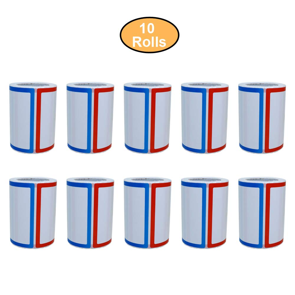 Aleplay 200pcs Plain Name Tag Labels Colorful Border Name Tag Stickers, 3.5'' x 2.25'', 4 Colors (10 Rolls)