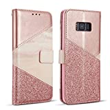 ZCDAYE Wallet Case for Samsung Galaxy S6 Edge,Premium Bling Glitter [Magnetic Closure] PU Leather [Ceramic Pattern] Stand Soft TPU with [Card Slots] Flip Cover for Samsung Galaxy S6 Edge - Rose Gold