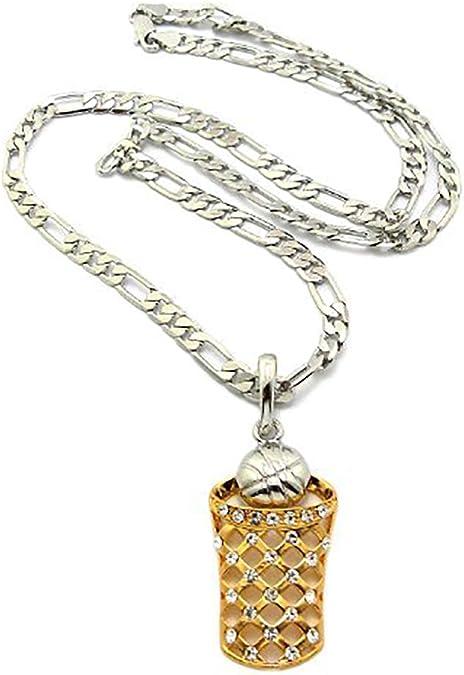 NYFASHION101 Stone Stud Basketball Pendant w// 5mm 24 Figaro Chain Necklace