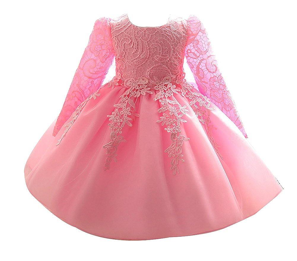 85bc8ee21112 LaoZan Ragazze Organza Vestito di Pizzo da Partito del Fiore Principessa  Vestito Costume a Maniche Lunghe  Amazon.it  Abbigliamento