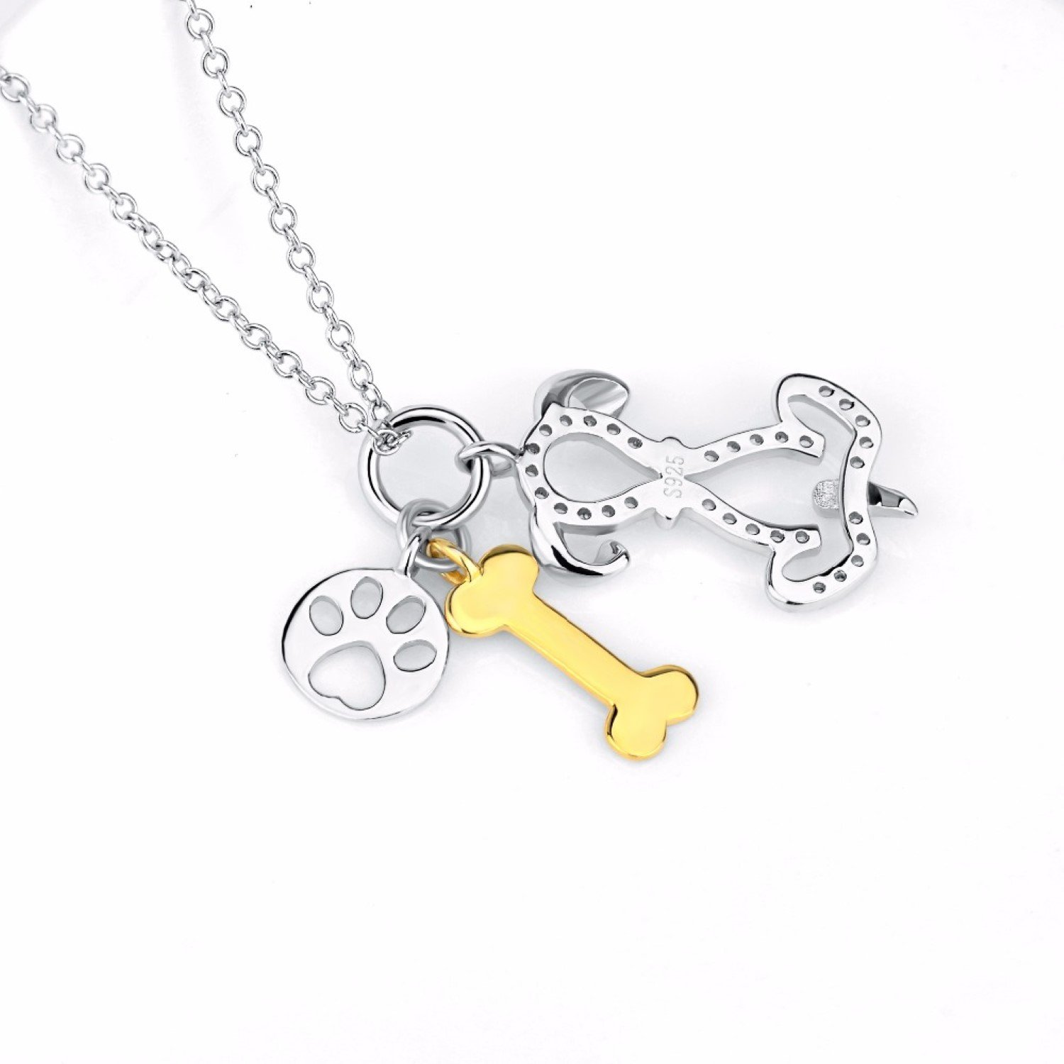 CS-DB Animal Crystal Dogs Paw and Bone Top Stylish Silver Necklaces Pendants