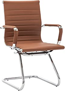 DM Furniture Office Chair Reception Chair Leather Back Support Guest Chair for Office, Reception Room, and Conference, Coffee (1 Pack)
