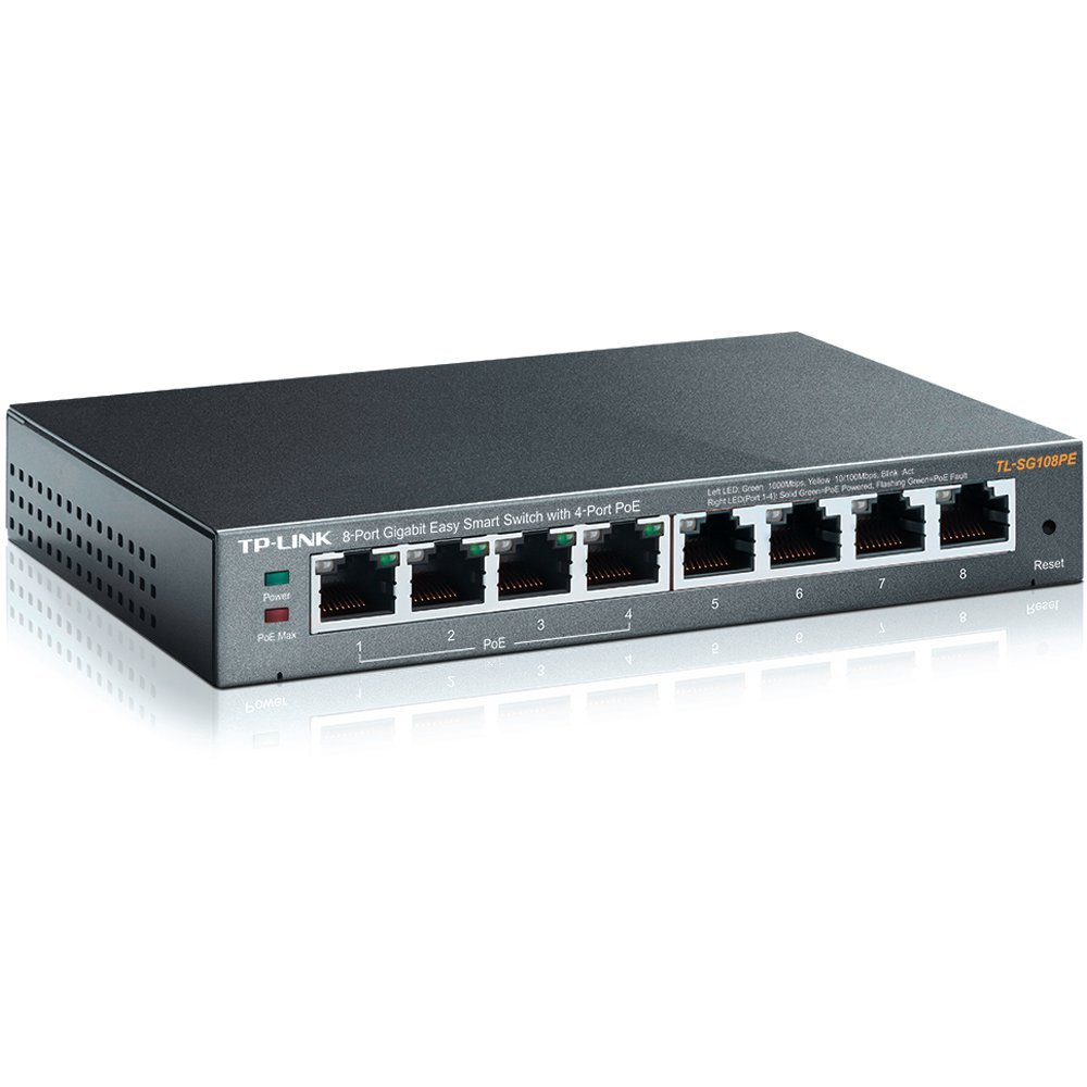 TP-Link 8-Port Gigabit PoE Easy Smart Managed Switch with 55W 4-PoE Ports   Unmanaged Plus    Plug and Play   Desktop   Metal   Lifetime (TL-SG108PE)