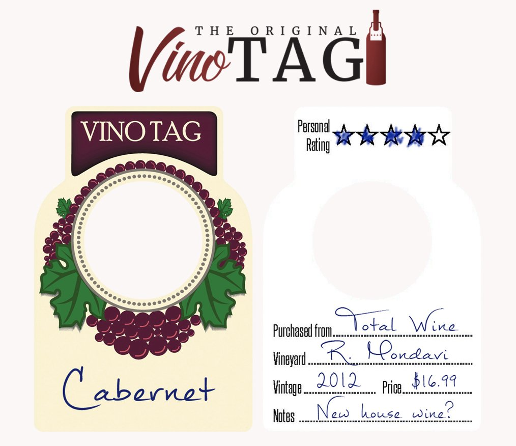 Vino Tag Two Sided Wine Bottle Tags 100 Count
