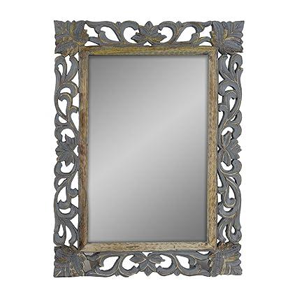 Amazon.com: Indian Heritage - Wooden Mirror 18x24 Mango Wood Carved ...