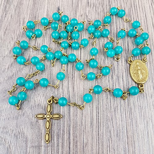 Rosary Turquoise Medal - 8
