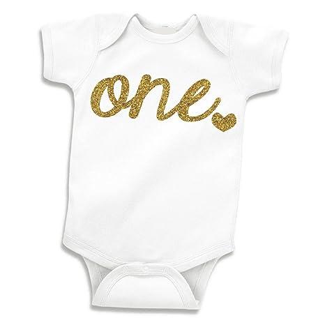 Camiseta de niña para primer cumpleaños de, un con purpurina ...