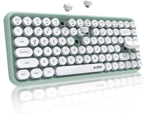 NACODEX 308I Teclado Bluetooth inalámbrico, compacto, 84 teclas, retro, redondo, mini teclado, teclado de computadora portátil con teclas de chocolate ...