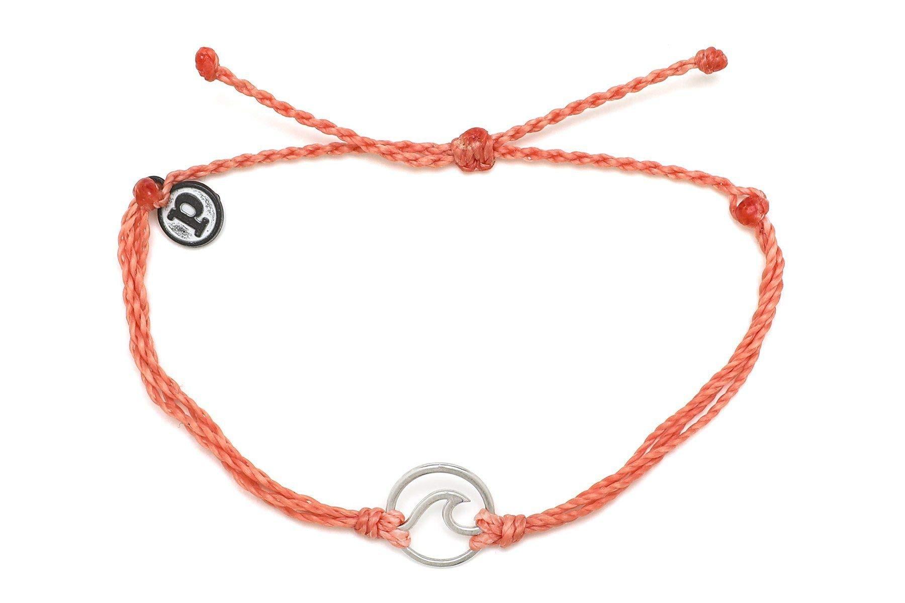 Pura Vida Silver Wave OG Salmon Bracelet - Silver Plated Charm, Adjustable Band - 100% Waterproof