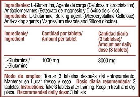 Glutamina 1000 mg L-Glutamina ayuda a recuperar la masa muscular, Aminoacido Glutamina Proseries 90 tabletas (3 meses) Calidad Premium Heal Secrets: ...