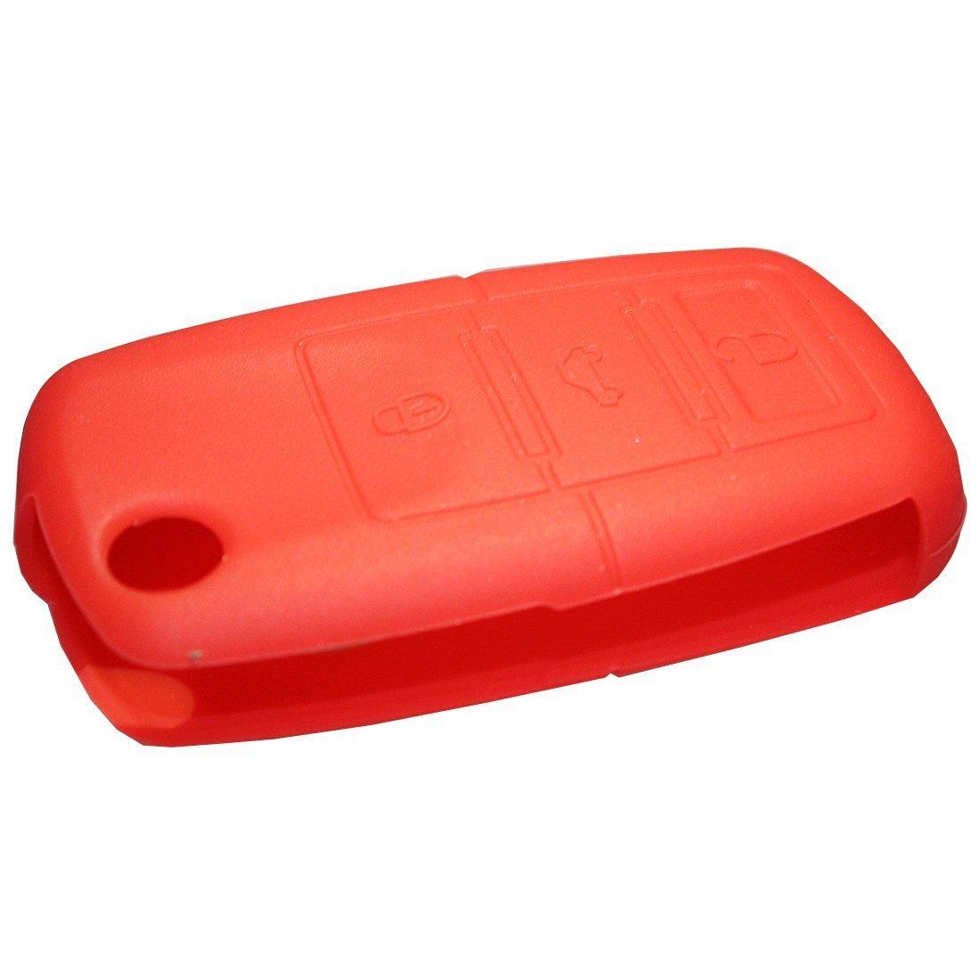Muchkey/® Cl/é de voiture Coque cl/é de voiture pour VW Volkswagen Flip Cl/é t/él/écommande Housse de protection en silicone 3/boutons Rouge 1pi/èce