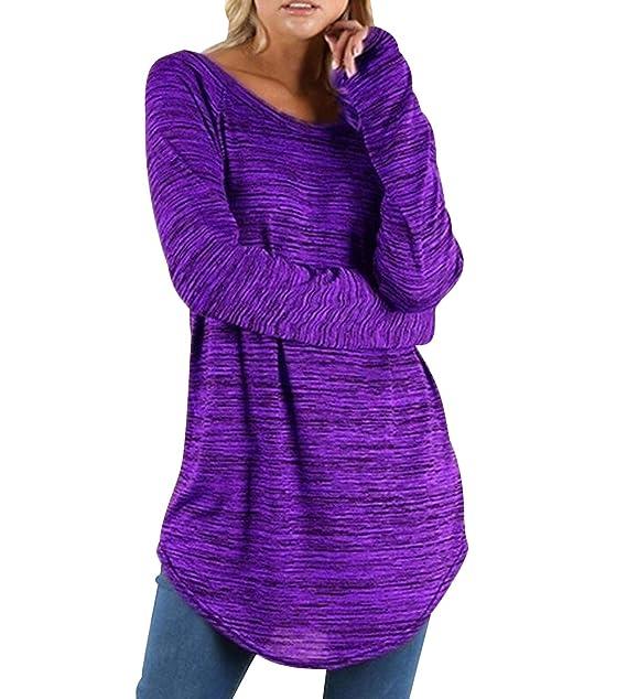 Camisetas Manga Larga Mujer Oversize Largas Camiseta Basica Tops Tunica Playeras Anchas Jersey Camisa Blusa Túnica Tunicas Poleras Camisas Señora Blusas ...