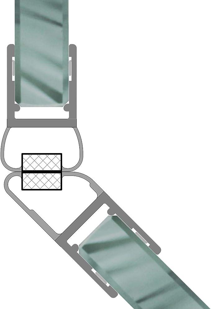 1 Set de imanes Juntas Junta para duchas, 135 ° magnético Perfil ranuras ducha Perfil de junta ducha de cristal para 6 – 8 mm grosor de cristal 7,49 & # x20ac;/M: Amazon.es: Bricolaje y herramientas