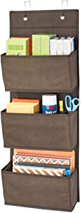 mDesign Soft Fabric Wall Mount/Over Door Hanging Storage Organizer - 3 Large Cascading Pockets - Holds Office Supplies, Planners, File Folders, Notebooks - Textured Print - Espresso Brown