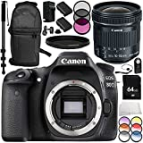 Canon EOS 80D DSLR Camera with Canon EF-S 10-18mm f/4.5-5.6 IS STM Lens 14PC Accessory Bundle – Includes 64GB SD Memory Card + 2x Replacement Batteries + MORE (Certified Refurbished)
