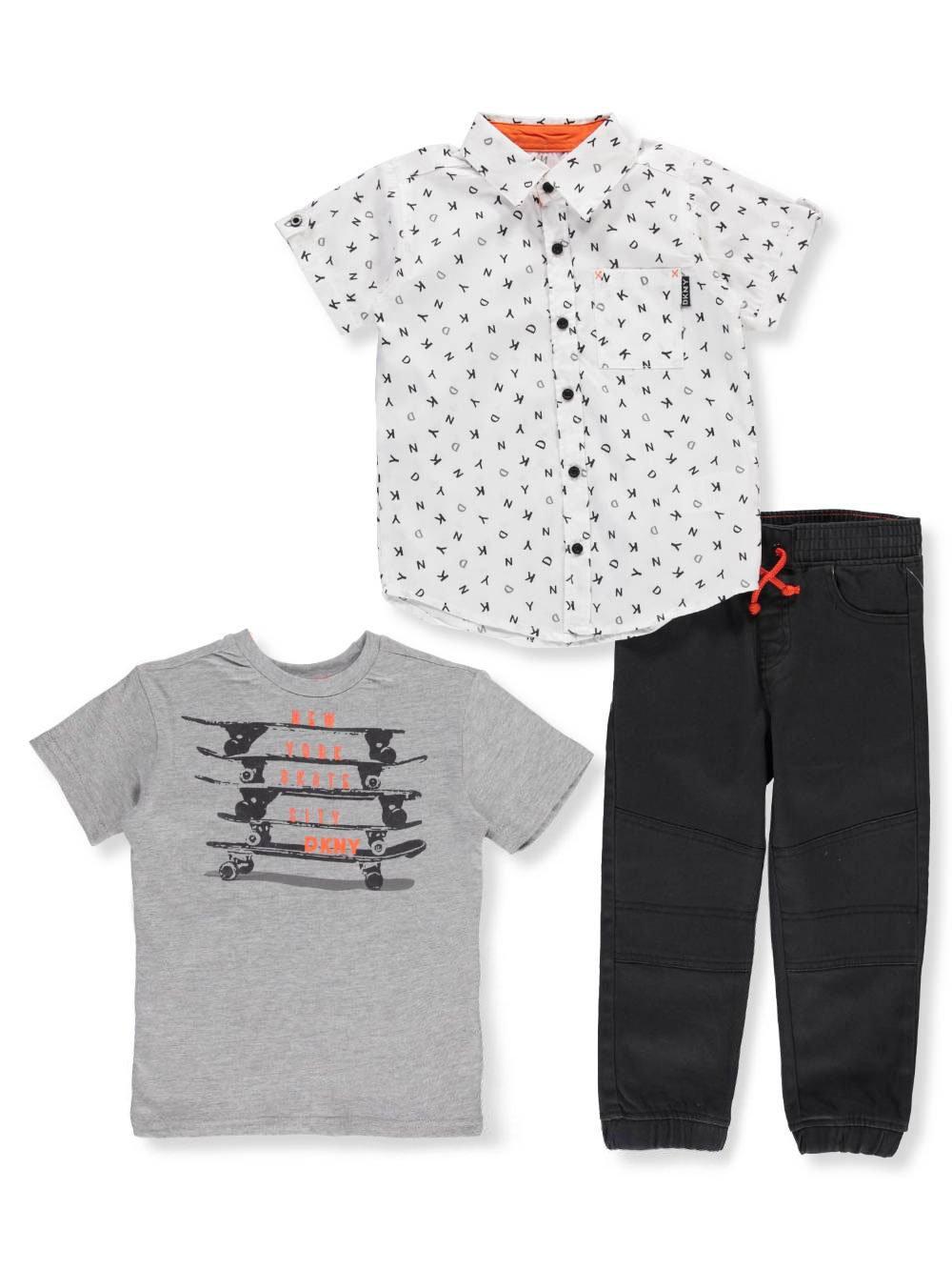 DKNY Toddler Boys' Soho Sport Shirt, T-Shirt and Pull-on Twill Jog Pant, Phantom, 2T