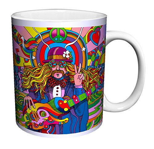 Howie Green Hippie Musician Psychedelic Pop Modern Art Ceramic Gift Coffee (Tea, Cocoa) 11 Oz. Mug