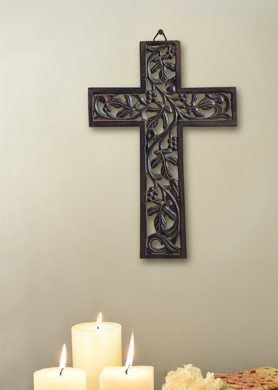 Christmas Thanksgiving Gifts Wooden Wall Cross Plaque Hanging with Hand Carved Floral Design Religious Altar Home Living Room Decor Lightweight 18inch Artisans Of India