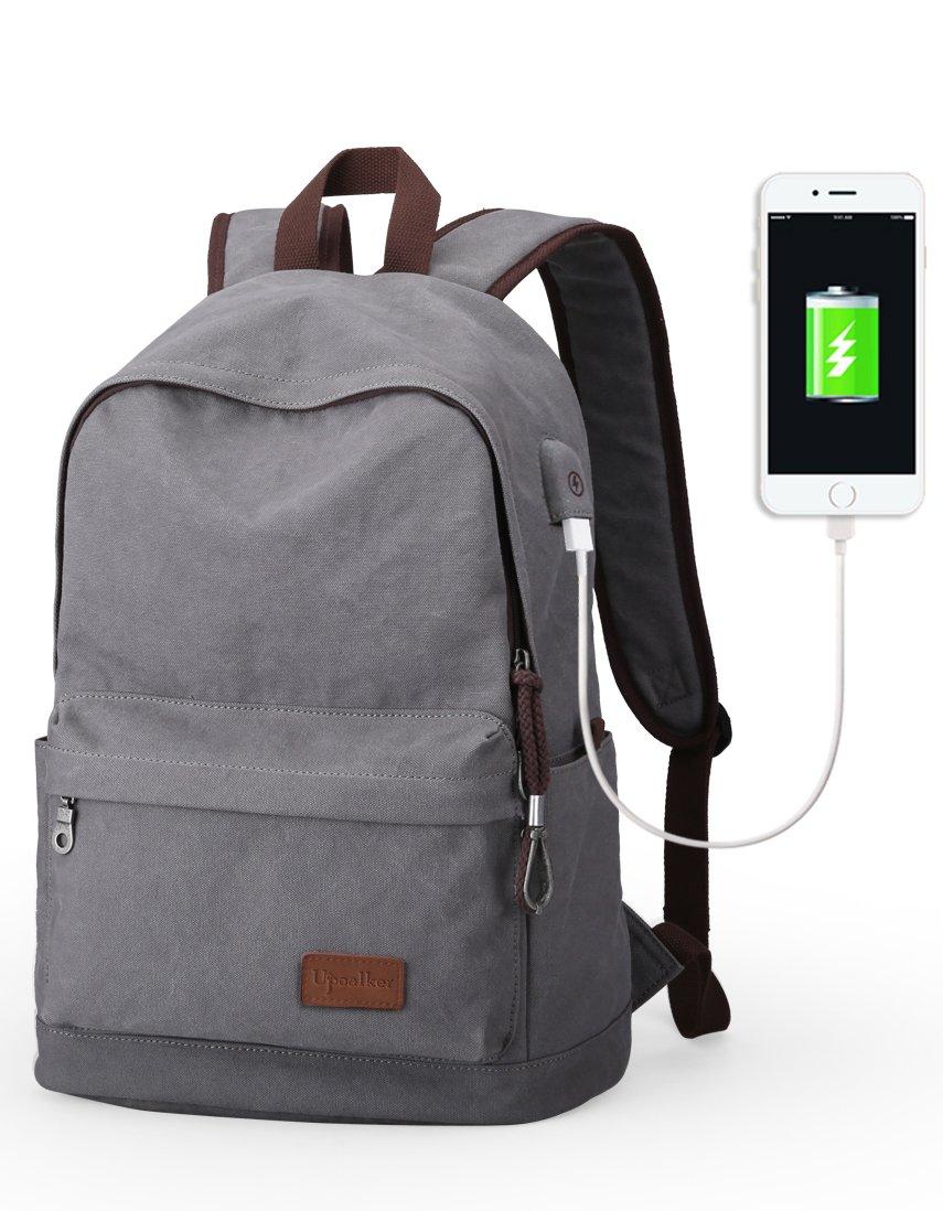 Upoalker Canvas Backpack with USB Charging Port for School Bookbag Travel Rucksack for Fits up to 15.6 inch Laptop Bag (Gray(USB port))