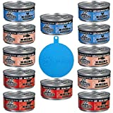 RedBarn Naturals Grain Free Canned Cat Food Pate in 3 Flavors – Beef, Ocean Fish, and Chicken - 12 Cans Total, 5.5 Ounces Each - Plus 1 Pet Buddies Silicone Cat/Dog Cover - 13 Items Total