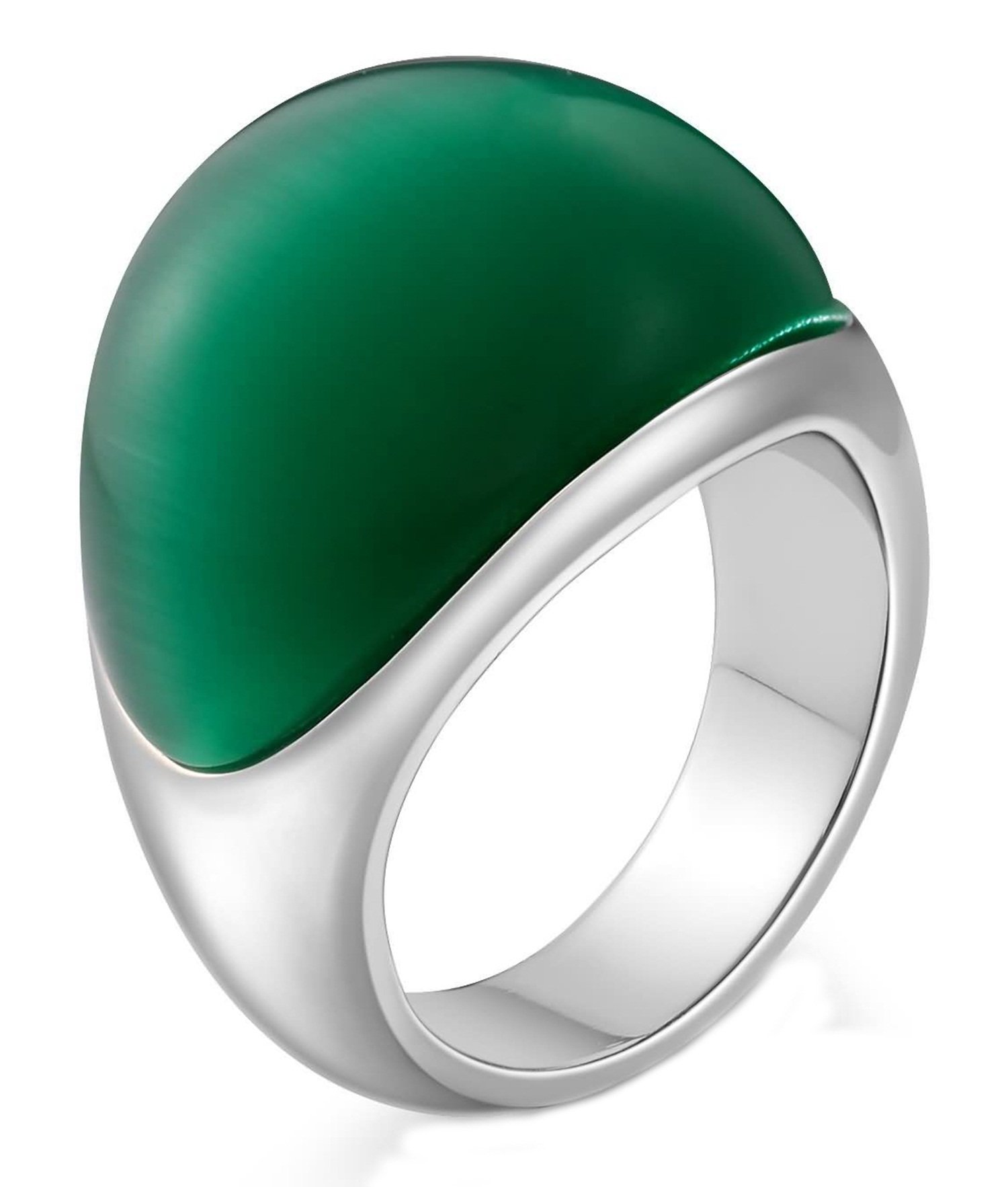 Aokarry Stainless Steel Ring for Men Boy Father Semi-Arc Created Opal Smooth Silver Green Size 10
