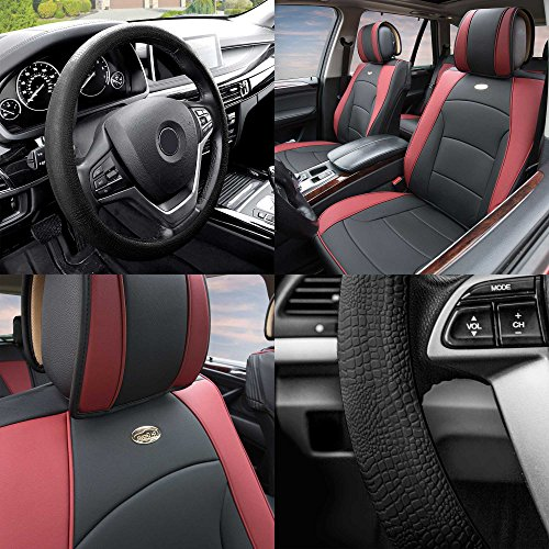 (FH Group PU205102 Ultra Comfort Leatherette Cushion Pad Pair Set Seat Covers, Burgundy/Black Color w. FH3001 Black Silicone Steering Wheel Cover- Fit Most Car, Truck, SUV, or Van)