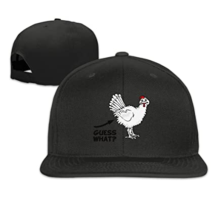 Trithaer Custom Guess What Chicken Butt Adjustable Béisbol Tiene & Cap, Color Negro, tamaño