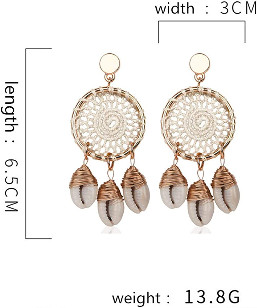 Lullabb Boho Shell Dangle Earrings Woven Dreamcatcher/ Beach Stud Earring Round Shaped Alloy Long Bohemian Hang Ear Ring for Women Girls