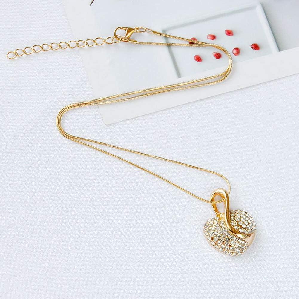 Honghu Femmes Drop Dangle Coeur Mariage des Boucles doreilles Parure De Bijoux en Cristal Plaqu/é en Or 18K Elegant