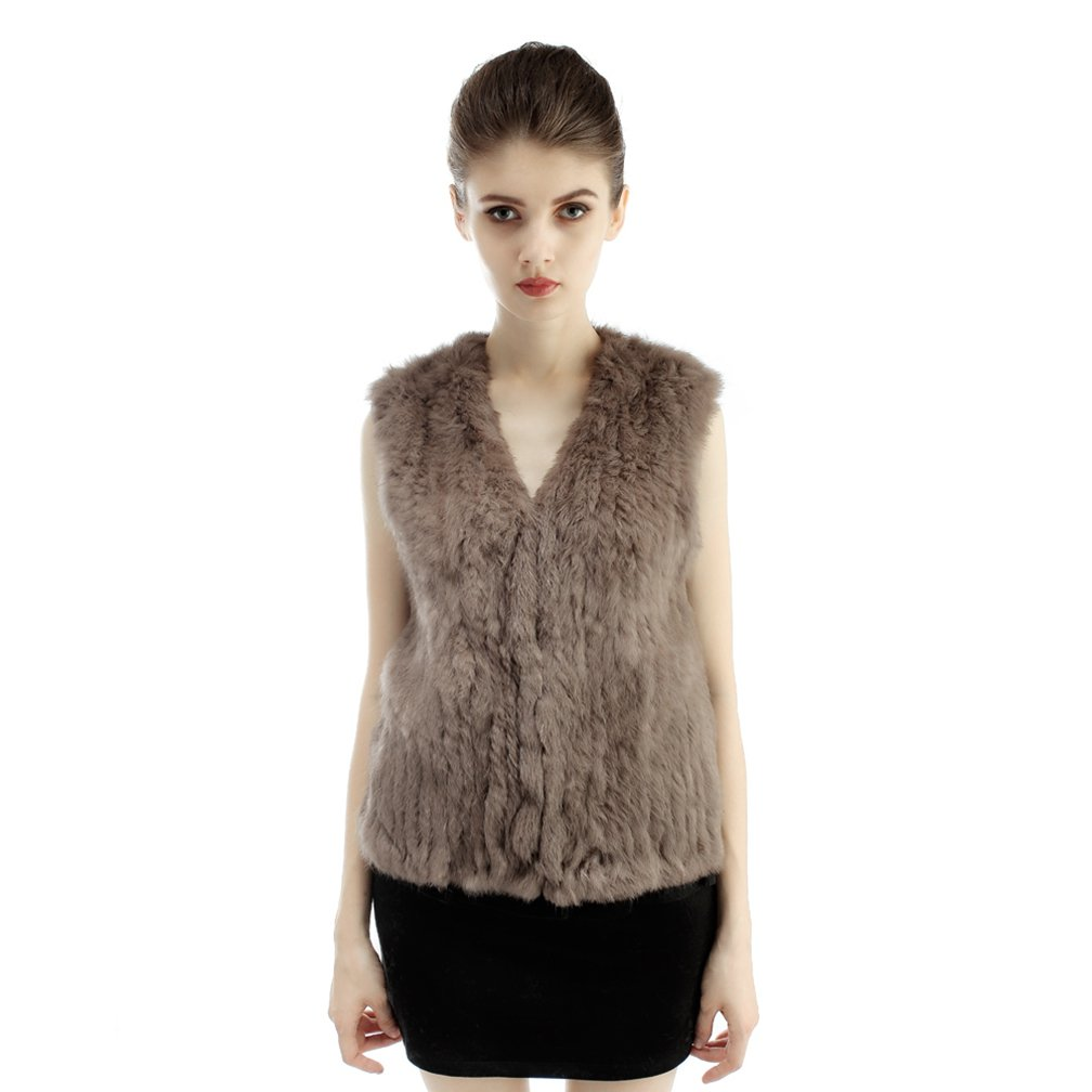 OLLEBOBO Women's Genuine Rabbit Fur Knitted Vest with V Collar