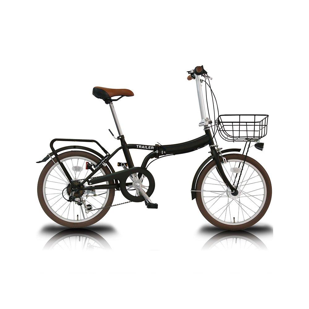 TRAILER(トレイラー) 20インチ 折りたたみ 自転車 6段変速 カゴ カギ ライト TR-F001 B07415CDSZ ブラック ブラック