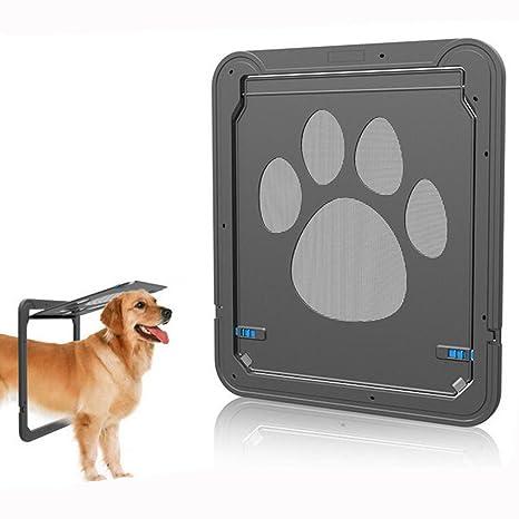 HomeYoo Puerta de Perro con Cerradura automática para Puerta de Mascota, Puerta Magnética Bloqueable de