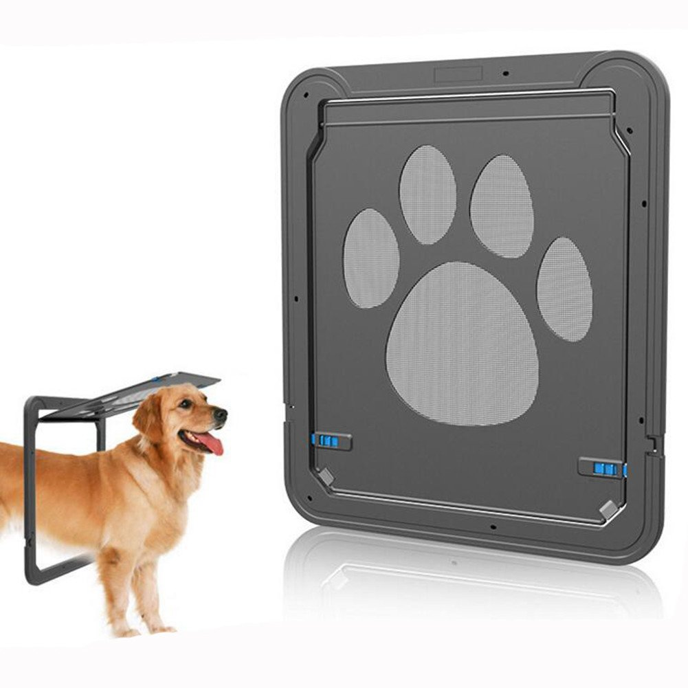 Homeself Pet Screen Door, Kitten Puppy Magnetic Self-Closing Automatic Slide Lock Mesh Window Screen Door, Lockable Safety Nets Entry Gate Protector for Small Medium Large Dogs Cats (Large)