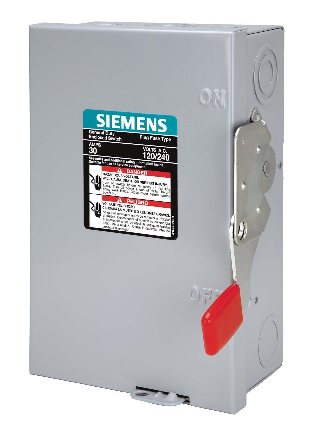 SIEMENS LF111N 30 Amp, 1 Pole, 120-Volt, PLUG Fused, GB W/N Indoor Rated by Siemens