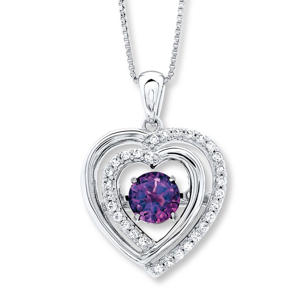 Valentine/'s Day Love Gift Colors in Rhythm Necklace Amethyst 14K White Gold Plated