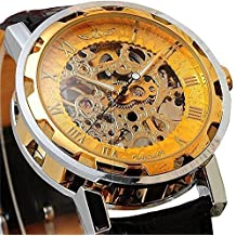 LYMFHCH Semi-Mechanical Hollow Engraving Gold Dial Black PU Band Analog Wrist Watch