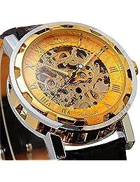 LYMFHCH Semi-Mechanical Hollow Engraving Gold Dial Black PU Band Analog Wrist Watch