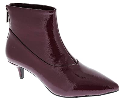 957500dd1 Amazon.com | Weboo Harmoni-8 Women Patent Pointed Toe Kitten Low Heel Ankle  Booties Boots Burgundy | Ankle & Bootie