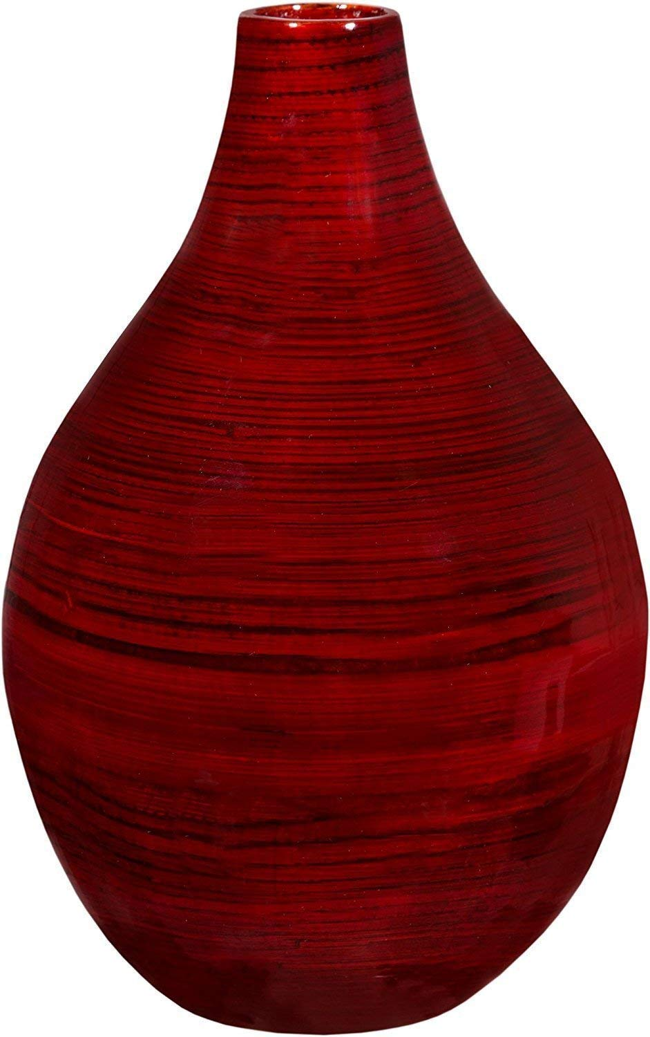 Decorative vase for home décor by Emenest | Holiday Party Table Centerpiece | Real Painted Bamboo Wood Accent Piece | Deep Red Color |Lightweight Yet Sturdy for Home or Office | Best Housewarming Gift - THE EMENEST CENTERPIECE VASE IS BOTH ELEGANT AND DURABLE to suit your many needs. The high-quality form and appearance of this wooden vase is akin to a ceramic or glass vase, but with the added convenience of being extremely lightweight. Unlike other vases, this modern vase won't shatter if toppled over. That is why this is the perfect choice for a high-traffic, commercial setting such as a restaurant, hotel, or bar. BEAUTIFUL HIGH GLOSS WOOD GRAIN DESIGN FOR A MODERN RUSTIC LOOK: Made from smooth bamboo material, the Emenest Flower Vase resists dents and scratches to keep a pristine appearance. Whether used with silk flowers or without, give your home, office, or coffee table the facelift it deserves. DEEP RED TONES PERFECT FOR CHRISTMAS PARTY DÉCOR: Featuring a rounded base and a smooth round rim, the flared design and burgundy red hue of this vase will take your holiday party table setting to the next level. The tall and narrow neck makes this vase easier to hold and transport. - vases, kitchen-dining-room-decor, kitchen-dining-room - 61hCsIj2evL -