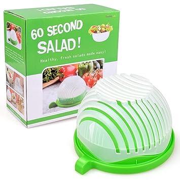 Cortador de ensalada cuenco, cuenco de ensalada de fruta y verdura eléctrica en 60 Segundos
