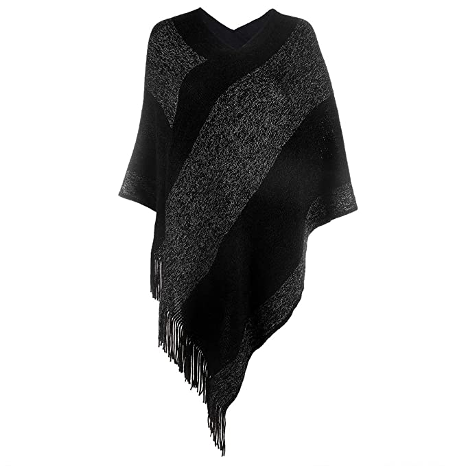90d22faee Women's Elegant Knitted Shawl Poncho with Fringed V-Neck Striped Sweater  Pullover Cape Gifts for Women Mom
